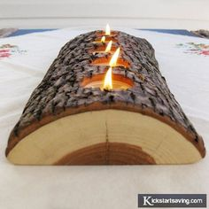 Creative wood with candles in the middle!