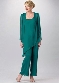 Buy discount Modest Pant Suits Chiffon Scoop Neckline Ankle-length Mother Of The Bride Dresses at Magbridal.com