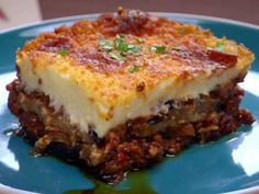 Moussaka recipe from Bobby Flay via Food Network, One of my favorite recipes from Throwdown With Bobby Flay, Mousakka Food Network Recipes, Cooking Recipes, Cooking Games, Healthy Recipes, Easy Recipes, Healthy Snacks, Musaka, Ground Lamb, Ground Meat