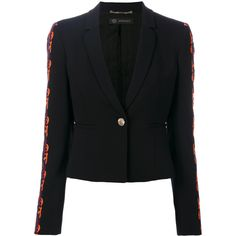 Versace baroque applique cropped jacket ($1,895) ❤ liked on Polyvore featuring outerwear, jackets, black, lace jacket, baroque jacket, versace, cropped jackets and versace jacket