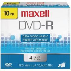 MAXELL 635040/635045/638004 4.7GB DVD-Rs (10 pk)