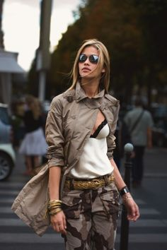 always balance your outfit -  military pants and coat + womanly cami and gold accessories