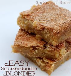 Easy Snickerdoodle Blondies from Sixsistersstuff.com #blondies #bars #dessert