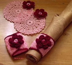 Part of Irish Crochet Decor Set --- Hand-Crocheted Decor in Pink and Burgundy:  2 #Handmade Coasters and 2 #Handmade Napkin Rings ~~ Pink with Burgundy Red 3D Multi-layer Crocheted Roses by @Ruth Sandra Sperling of  RSSDesignsInFiber