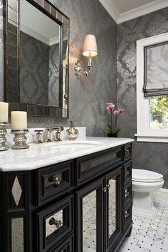Elsie Interior - bathroom  - Kohler Margeux Collection Faucet, West Elm Antique Tiled Wall Mirror, grey foil wallpaper