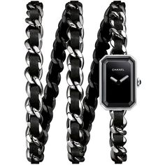 CHANEL PREMIÈRE Rock Steel Triple Wrap Watch ($5,875) ❤ liked on Polyvore featuring jewelry, watches, chanel, chanel jewelry, black dial watches, dial watches, wrap watch and black wrist watch