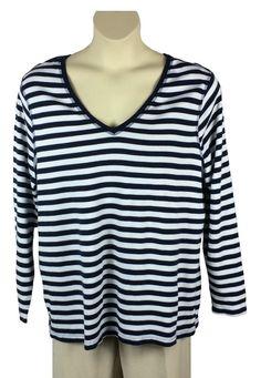 36928975ffdf8 Womens Lane Bryant Striped Knit Top Plus Size 22 24 Long Sleeve Blue White