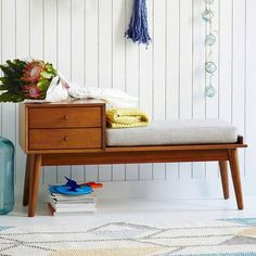 Brand New Mid-century Storage Bench replica from West Elm. $500 +tax brand new. The photos (from West Elm) speak for themselves. We no longer have room for it, as we are moving. Dimensions are 46.5w...
