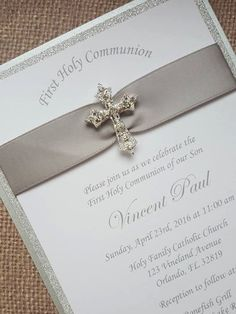 Deluxe Handmade Communion/Christening/Baptism Invitations.  Luxurious Silver satin and silver glitter three-layered invitation finished with a silver rhinestone keepsake slider.  You will receive:  - 50 Invitations - 5x7 - 50 White Envelopes  Invitations are $4.75 each   Please include Name, Occasion, Address and RSVP Name and Number through a message along with payment.  Love this theme but not the colour? No problem, customized colours are available at an additional cost, please email me…