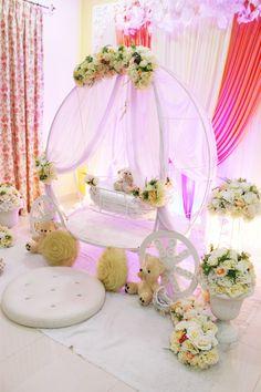 Pelamin cradle for majlis buaian berendoi cukur jambul for Baby cradle function decoration