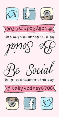 Custom Illustrated Social Media Sign PDF - Facebook, Twitter, Instagram hashtag on Etsy, $7.00