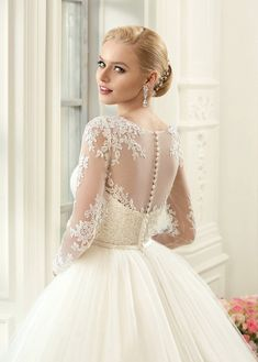Ball Gown Floor-Length Jewel Long-Sleeve Illusion Tulle Lace Dress With Appliques - Dorris Wedding Wedding Dress Train, Applique Wedding Dress, Modest Wedding Dresses, Perfect Wedding Dress, Wedding Gowns, Tulle Lace, Tulle Dress, Lace Dress, Ball Dresses