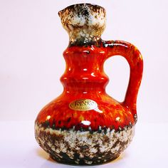 West German Pottery Jopeko Vase with original label FAT LAVA glaze