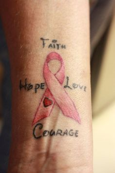 Faith Hope Love Courage. My Aunt Judy's tattoo. -Moogy