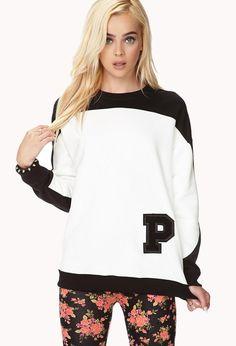 Colorblocked Letterman Sweatshirt http://picvpic.com/women-tops-sweatshirts/colorblocked-letterman-sweatshirt?ref=QA8LwA