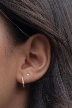 Our Diamond Huggie Hoop Earrings are your perfect everyday go-to earrings. Classic in design and easy to wear day or night. 2nd Ear Piercing, Double Ear Piercings, Pretty Ear Piercings, Ear Peircings, Ear Piercings Cartilage, Tongue Piercings, Cartilage Earrings, Triple Lobe Piercing, Outer Conch Piercing