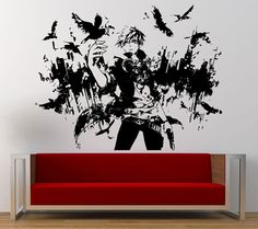 Night Crow Anime Male Boy City View Skyline Birds Wall Graphic Decal Sticker Vinyl Mural Leaving Bedroom Room Home Decor FREE SHIPPING L247