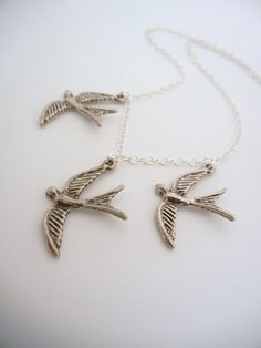 The original Divergent Inspired three flying bird tattoo necklace in Sterling silver on Etsy, $34.00