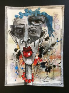 Abstract Faces, Abstract Portrait, Contour Drawing, Face Art, Art Faces, Outsider Art, Figurative Art, Mixed Media Art, Contemporary Art