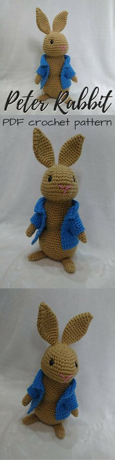Adorable Peter Rabbit Amigurumi Toy Bunny Crochet Pattern! Love his little blue jacket! Perfect for the upcoming movie release! Classic! #etsy #ad #beatrixpotter