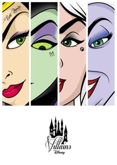 The Evil Queen (Lucille La Verne), Maleficent (Eleanor Audley), Cruella De Vil (Betty Lou Gersen), and Ursula (Pat Carroll). Dark Disney, Disney Magic, Disney Nerd, Disney Love, Disney And Dreamworks, Disney Pixar, Disney Villains Art, Super Heroine, Eyebrow Game