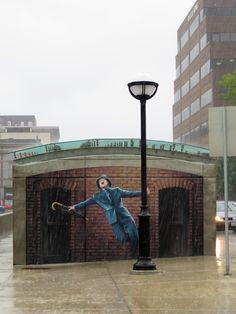 Coolest street art. Gene Kelly mural in Ann Arbor - More permanent than David Zinn's usual (chalk) artwork