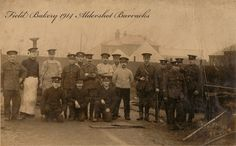 A family member (extreme left ) in charge of a Field bakery at Aldershot 1914