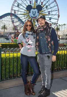 """Actress Zoe Saldana celebrated New Year's Eve in Disney-style with her husband, Marco Perego, at Disney California Adventure park. This was one of Zoe's last stops before she begins filming """"Guardians of the Galaxy 2"""" in which she reprises her role as Gamora."""