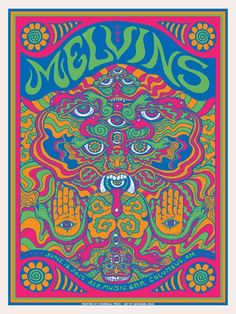 Melvins Columbus Ohio concert poster by Nathaniel Deas SHOW EDITION by nathanieldeas on Etsy Rock Posters, Band Posters, Retro Posters, Music Posters, 60s Art, Psychadelic Art, Psychedelic Rock, Psychedelic Posters, Hippie Art