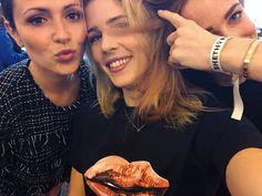 Italia Ricci, Emily Bett Rickards, and Caity Lotz