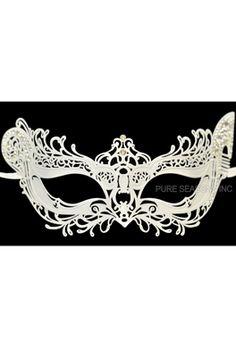 Winged Angel Venetian Mask (White) - Pure Costumes