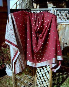 burgundy embroiderd Indian shawl