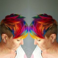 Another killer color by @jaymzcutshair! What do you think? #rainbow #pixie #modernsalon @nothingbutpixies