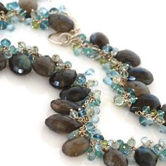 Labradorite Necklace with Blue Topaz, Green Amethyst, Peridot and Apatite