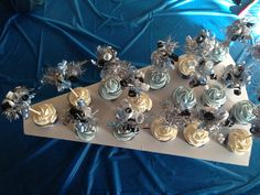 Pom pom cupcakes Cheerleading megaphone cake stand