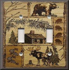 Details About Light Switch Plate Cover Rustic Bear And Moose Cabin Home Decor Lodge