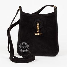 0f589d9502a7 Black Mini Evelyne in Veau Doblis. Super cute evening bag in soft suede. For