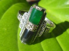 Sterling Art Deco style green and black onyx with by Jadelsjewelry, SOLD
