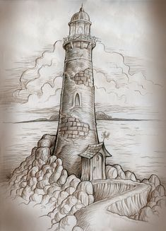 Lighthouse Path by MJBivouac.deviant… on Lighthouse Path by MJBivouac. Pencil Art Drawings, Cool Drawings, Drawing Sketches, Sketching, Lighthouse Drawing, Desenho Tattoo, T Art, Pyrography, Painting & Drawing