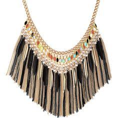 Crystal Rhinestone Fringe Statement Necklace Collar Gold ($17) ❤ liked on Polyvore