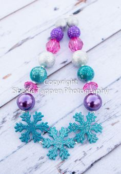 Frozen inspired Snowflake Trio Chunky Necklace in by AdisynKlaire, $24.99