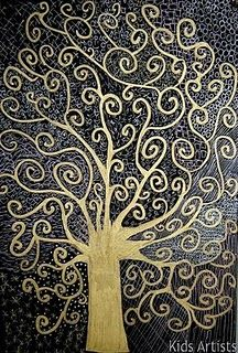 Klimt...black paper, gold pens  Or, gold paint & ink over it. You could etch the design