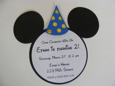 Mickey Mouse Birthday Party Invitations Boy Girl Twins Triplets | whimsicalcreationsbyann - Cards on ArtFire