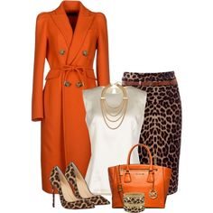 Unique Orange & animal print I've got the orange coat, just need some leopard print heels! Classy Outfits, Chic Outfits, Fall Outfits, Fashion Outfits, Womens Fashion, Work Fashion, Fashion Prints, Fashion Looks, Fashion Beauty