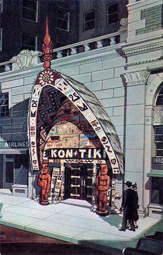 Tiki Bar-Long gone! Closed in the kon-tiki polynesian restaurant montreal canada Tiki Art, Tiki Tiki, Of Montreal, Montreal Canada, Tiki Decor, Tiki Lounge, Vintage Tiki, Tiki Room, Expo
