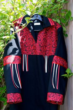 Made to Order Contemporary Native American Style Ribbon Shirt via Etsy Native American Regalia, Native American Clothing, Native American Fashion, Dance Outfits, Skirt Outfits, Custom Leather Jackets, Ribbon Skirts, Native Style, Shirt Skirt