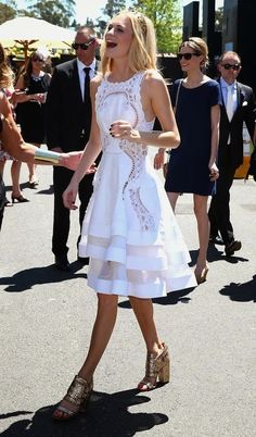 Poppy Delevigne white dress