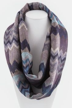 Ikat Woven Infinity Scarf in Blue