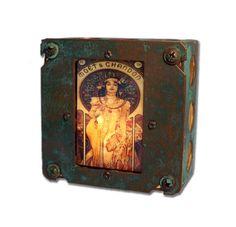 "Art Nouveau Alphonse Mucha Night Light ""Moet"" Industrial Chic 2"