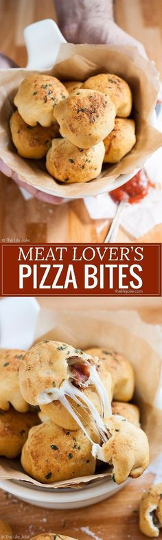This Meat Lover's Pizza Bites recipe is the ultimate game day appetizer! Pepperoni, sausage, bacon and melted cheese, enveloped in a warm biscuit and dipped in tomato sauce. These homemade snacks will be a welcome addition to any tailgate party!
